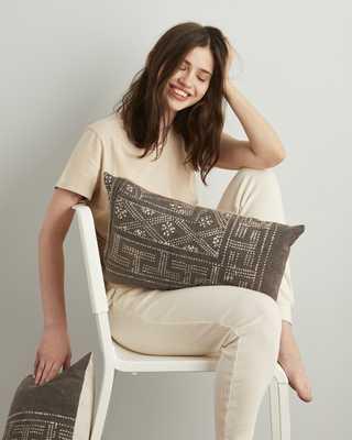 hmong lumbar pillow in grey - with insert - PillowPia