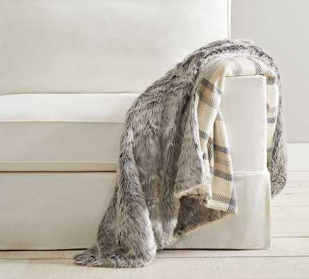 "Nottingham Faux Fur Plaid Throw, 50 x 60"", Ivory/Neutral - Pottery Barn"