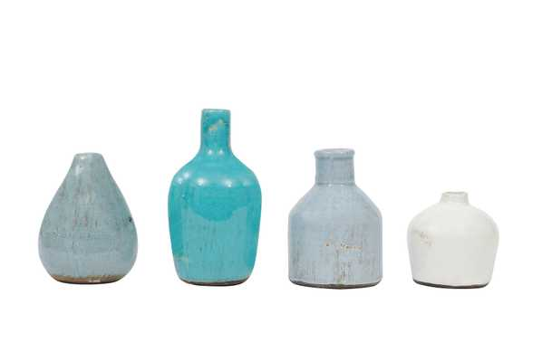 Blue & Ivory Terracotta Vases (Set of 4 Sizes) - Nomad Home