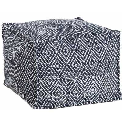 Fresh American Sloane Diamond Outdoor Ottoman Fabric: Navy/White - Perigold