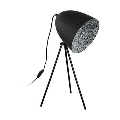 Eglo Mareperla 21.06 in. Black Table Lamp with Black/Grey Metal Shade - Home Depot