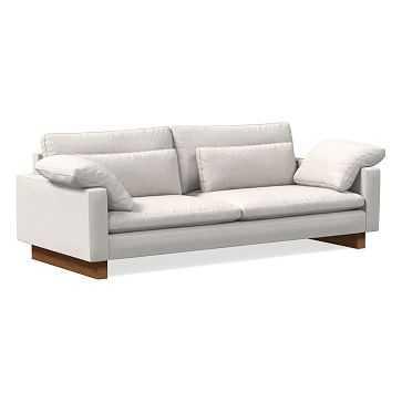 "Harmony 92"" Sofa, Performance Coastal Linen, Stone White, Dark Walnut - West Elm"