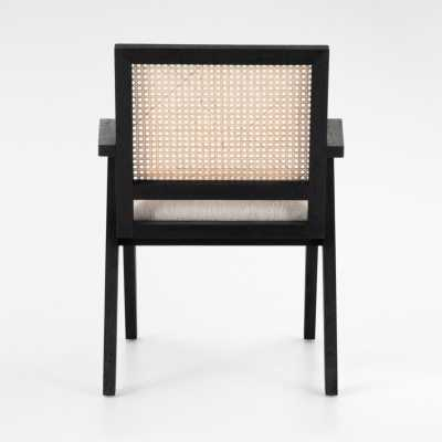 Annette Black Upholstered Cane Dining Chair - Crate and Barrel