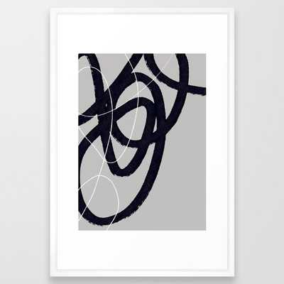 Abstract Brush Strokes 33 Framed Art Print by Mareike BaPhmer - Vector White - LARGE (Gallery)-26x38 - Society6