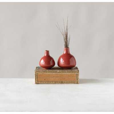Hynde 2 Piece Red Stoneware Table Vase Set - Wayfair