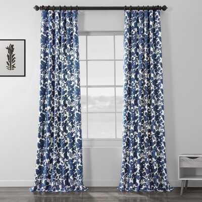 Hemsworth Blue Printed Floral Room Darkening Rod Pocket Single Curtain Panel - Birch Lane