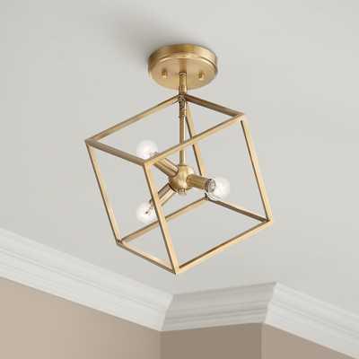 "Possini Euro Verrin 13 3/4""W Warm Brass Cube Ceiling Light - Style # 79F71 - Lamps Plus"
