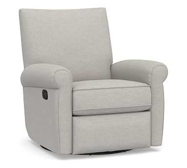 Grayson Roll Arm Upholstered Swivel Recliner, Polyester Wrapped Cushions, Heathered Twill Stone - Pottery Barn