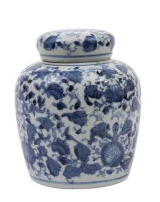 Blue & White Ceramic Ginger Jar with Lid - Nomad Home