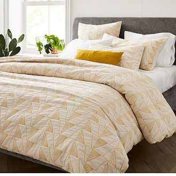 Textural Cotton Linework Duvet, King, Sand Dune - West Elm