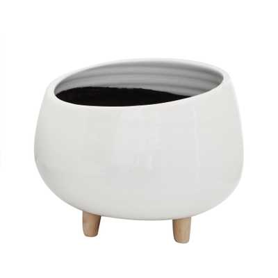 White Planter with Wood Feet - Nomad Home