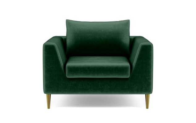 Asher Accent Chair with Green Malachite Fabric, down alt. cushions, and Brass Plated legs - Interior Define