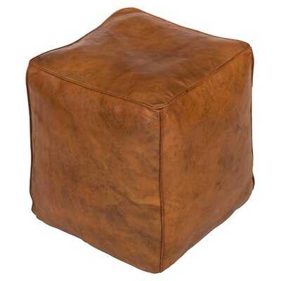 Wolfforth Leather Pouf - Wayfair