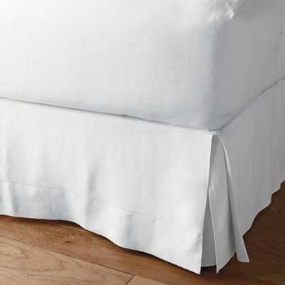The Company Store Solid Washed 14 in. White Linen King Bed Skirt - Home Depot