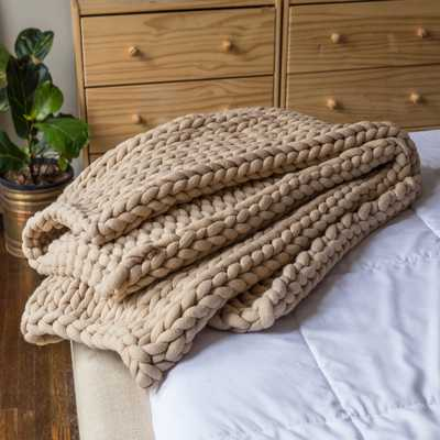 AMERICAN HERITAGE Taupe Acrylic Chunky Knitted Throw, Brown - Home Depot