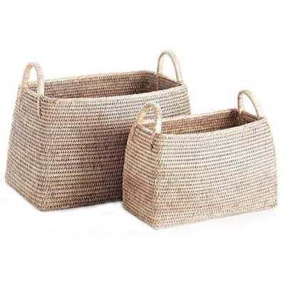 Bella Coastal Beach White Woven Rattan Magazine Basket - Set of 2 - Kathy Kuo Home