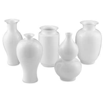 Currey & Company 5 Piece Imperial White Porcelain Table Vase Set Size: Medium - Perigold