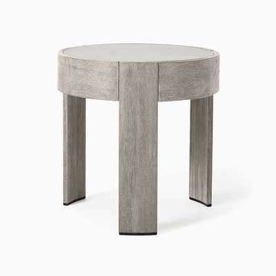 Portside Round Concrete Side Table, Concrete, Weathered Gray - West Elm
