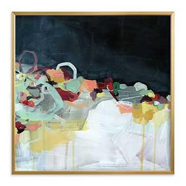 "Abstract Landscape Dark, Full Bleed 44""x44"", Gilded Wood Frame - West Elm"