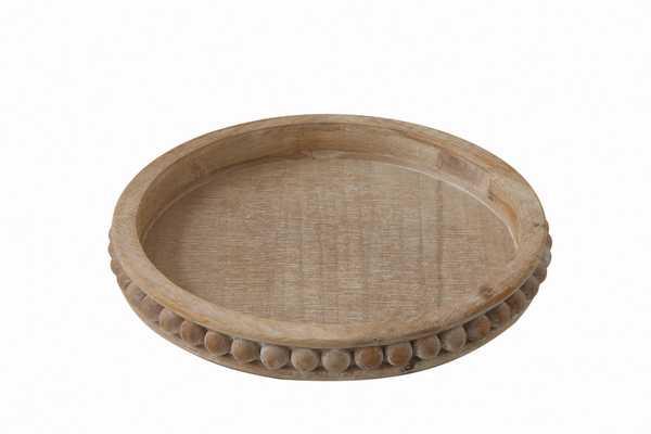 Whitewashed Round Decorative Wood Tray - Nomad Home