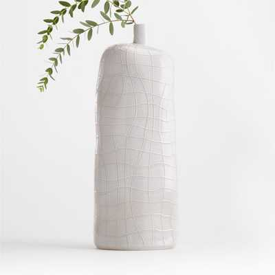 Ava White Textured Vase - Crate and Barrel