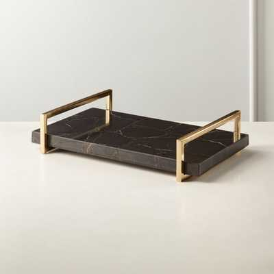Black Agate Tray with Handles - CB2