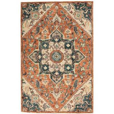 Oriental Tufted Wool Orange Area Rug - Wayfair