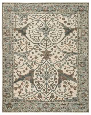 Slayton Hand-Knotted Medallion Ivory/ Light Teal Area Rug (10'X14') - Collective Weavers