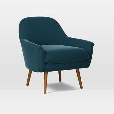 Phoebe Midcentury Chair, Poly, Performance Velvet, Lagoon, Pecan - West Elm