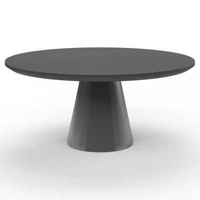 Sunset West Pedestal Modern Dark Grey Concrete Round Outdoor Dining Table - Kathy Kuo Home