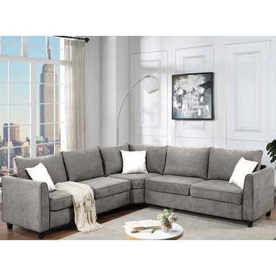 Latitude Run® L Shape Big Couch Sectional Sofa With 3 Pillows.(Grey) - Wayfair