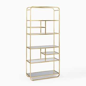 Denise Tall Bookshelf, Brass - West Elm