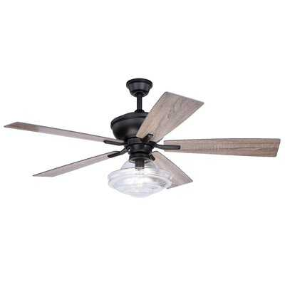 """52"""" Abington 5 Blade Ceiling Fan with Remote, Light Kit Included - Birch Lane"""