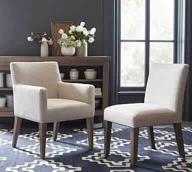 PB Classic Upholstered Dining Side Chair, Gray Wash Frame, Performance Chateau Basketweave Ivory - Pottery Barn