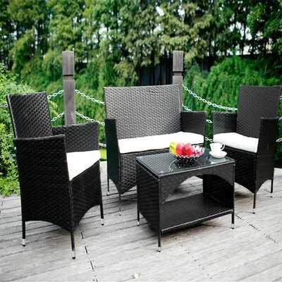Radium Outdoor 3 Piece Wicker Sofa Seating Group with Cushions - Wayfair