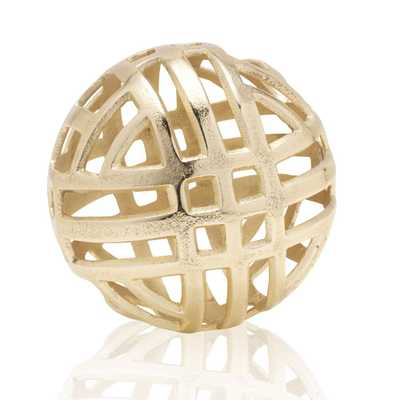 SCOTT LIVING Gold Metal Sphere Ball Figurine - Home Depot