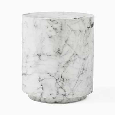 Marbled Drum Side Table, Round, White - West Elm
