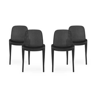 Noble House Ivy Black Stackable Plastic Outdoor Dining Chair (4-Pack) - Home Depot