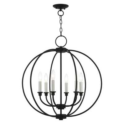 Livex Lighting Milania 6-Light Black Chandelier with Metal Shades - Home Depot