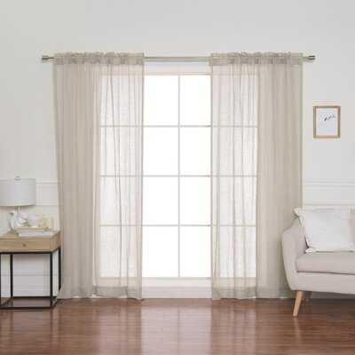Isadora Linen Back Tab Solid Semi-Sheer Single Curtain Panel - AllModern