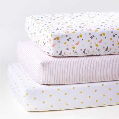 Terrazzo Crib Fitted Sheets, Set of 3 - Crate and Barrel