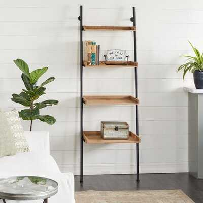 "Tall 4-Tier Natural Wood And Black Metal Ladder Shelf, 24"" X 72"" - Wayfair"