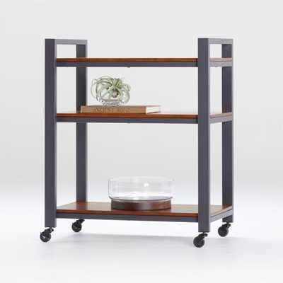 Pilsen Graphite Cart with Walnut Shelves - Crate and Barrel