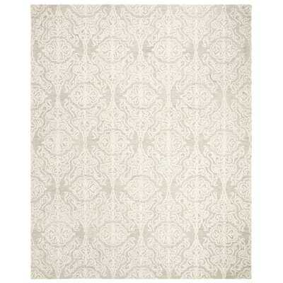 Elsner Hand-Tufted Wool Light Silver/Ivory Area Rug - Wayfair