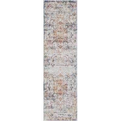 Oriental Beige/Navy Area Rug - Wayfair