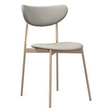 Modern Petal Fully Upholstered Dining Chair, Basket Slub, Feather Gray, Light Bronze - West Elm