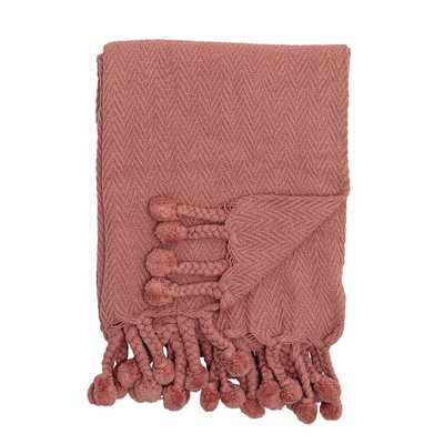 Deep Rose Cotton Throw with Braids & Pom Poms - Moss & Wilder