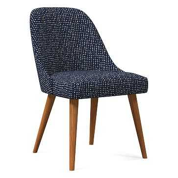 Mid-Century Upholstered Dining Chair, Drawn Dots, Indigo, Pecan - West Elm