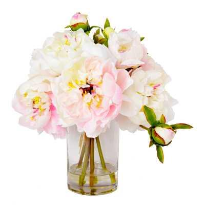 Faux Cream & Pink Peony Floral Arrangement in Vase - Perigold