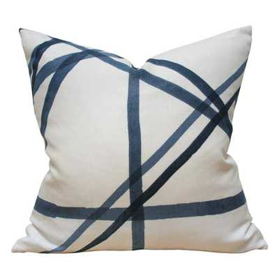 Channels Blue - 20x20 pillow cover / pattern on front, solid on blue - Arianna Belle